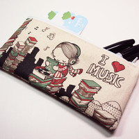 Small I Heart Music Zipper Pouch