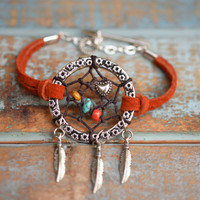"NEW Color ""Tiger Lily"" Suede Dreamcatcher Bracelet"