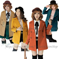 Korean Fashion Ladies Vintage Womens Woollen Pea Coat Jacket Winter Peacoat XS-M