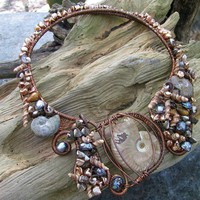 Tidal Pool Collar Necklace Ammonites Pearls Shells Unique Art Jewelry