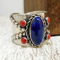 Western Lapis Ring, Sterling Silver Wide Band Gemstone Ring