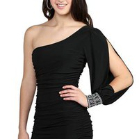 one shoulder club dress with double ruching and stone cuffed sleeve