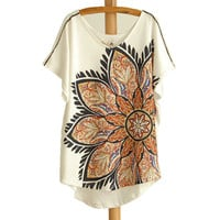 Big Flower Batwing Long T-shirt