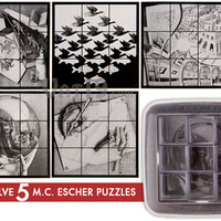 M.C. Escher Mirror Puzzle: Arrange mirrored cubes to create five masterpeices.