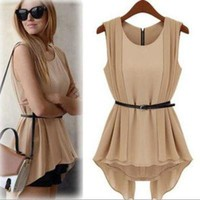 fashion Vintage chiffon dress with belt