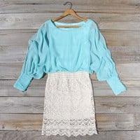 Lace & Quartz Dress in Mint, Sweet Women's Bohemian Clothing