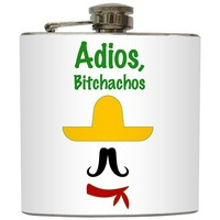 "Liquid Courage Flasks: ""Adios Bitchachos"" - Funny Mustache Sombrero Flask"