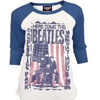 Junk Food Here Comes The Beatles Distressed Thermal Raglan Cream and Blue Juniors T-shirt - The Beatles - | TV Store Online