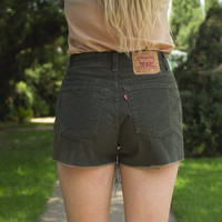 High Waisted Dark Green Corduroy Levi Shorts