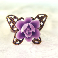 Butterfly Ring Purple flower set in Butterfly by KandyDisenos