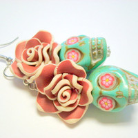 Turquoise, Brown, and Pink Day of the Dead Roses and Sugar Skull Earrings