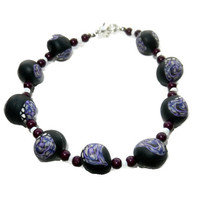 CIJ SALE 20% OFF - Purple Black Polymer Clay Bracelet