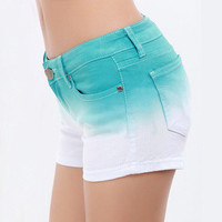 Gradient Denim Hot Pants