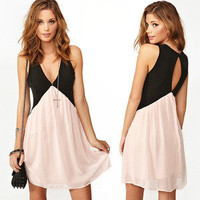 shopping2013 — Contrast color stitching on the back hollow out chiffon vest dress