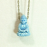 Boho buddha necklace spiritual buddhism blue by GypsyTribeJewelry