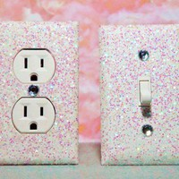 SET of Chunky IRIDESCENT WHITE Glitter Switch Plate / Outlet Covers AN