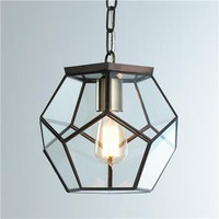Clear Glass Prism Pentagon Pendant Light - Shades of Light