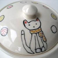 Kitty Sugar Pot by abbyberkson on Etsy
