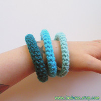 Bangle Bracelets Crochet Set of Three in aqua, turquoise and teal ready to ship.