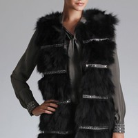 Embellished Fox Fur Coat by Hale Bob