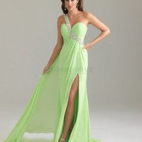 A-line One Shoulder Long Green Beading Prom Dress