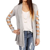 Gray Open Front Slash Cardigan