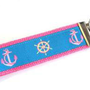 CUTE KEY CHAIN WRISTLETNAUTICAL BLUE PINK ANCHOR by brooksboutique