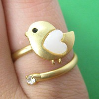 Adjustable Bird Animal Wrap Ring in Gold with Heart Shaped Wings