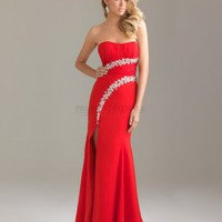 A-line Strapless Long Red Beading Prom Dress
