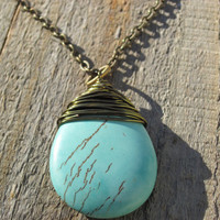 Boho Necklace Turquoise colored Magnasite by CopperTreeArt on Etsy
