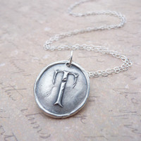 Wax seal initial necklace in letter T hand stamped from recycled silver clay, reclaimed materials