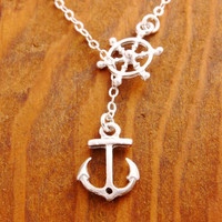 Anchor Necklace - ship wheel necklace, beach necklace, ocean necklace, summer necklace, anchor and wheel, ships wheel, beach lariat, pendant