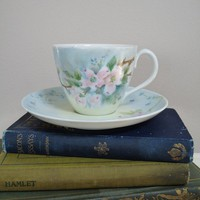 Tea Cup and Saucer  Handpainted Dogwood by DuryeaPlaceDesigns