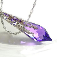 Purple Crystal Necklace Sterling Silver Chain by DorotaJewelry