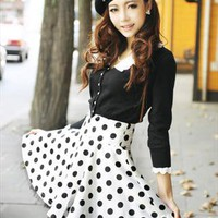 white black dots elegant summer skirt final clearance g829 from YRBfashion