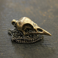 Crow Skull Necklace - Solid Bronze