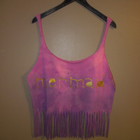 Pink and Purple Gold Mermaid Fringe Tank