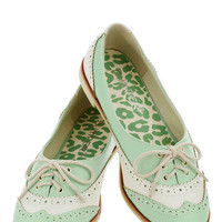 Amalgam of the Year Flat in Mint and Ivory | Mod Retro Vintage Flats | ModCloth.com