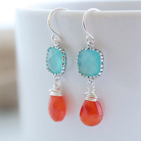 Orange Chalcedony Earrings Bezel Set Earrings by Jewels2Luv