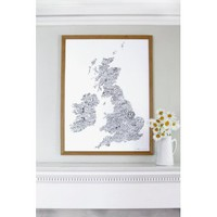 Word Map Of The British Isles | Folly Home | Design-led Gifts, Home wares, Vintage Finds