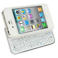 Sliding White Bluetooth Keyboard Case For Iphone 4/4s