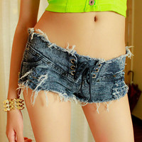 Shoelace Distressed Denim Zip Shorts