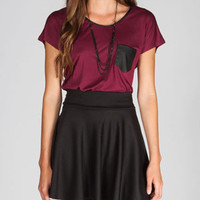 CHLOE K Faux Leather Pocket Womens Tee
