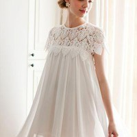 White eyelet lace pleated babydoll dress from SweetiePie524