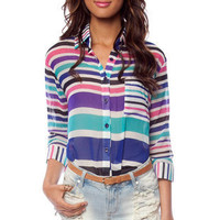 Trading Stripes Blouse in Turquoise Multi :: tobi