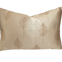 Modern Tree Pillow Iridescent Taupe Cream by PillowThrowDecor