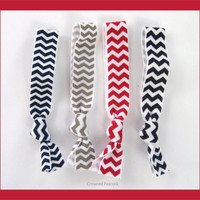 4 Elastic CHEVRON HAIR TIES Black Silver Red by CrownedPeacock