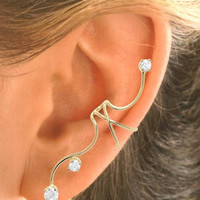 Full Ear CZ Ear Cuff  Single Sterling Silver or Gold by EarCharms