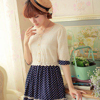 Lace Crochet Top Polka Dots Bottom Dress Golden Pearl Buttons Korean Fashion