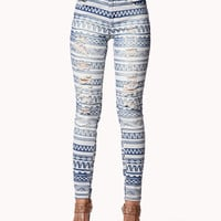 Destroyed Tribal Print Skinny Jeans | FOREVER21 - 2042856050